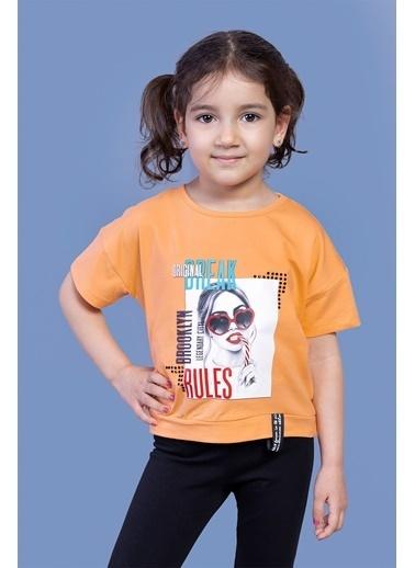 Toontoy Kids Toontoy Kız Çocuk Dijital Baskılı Tişört Oranj